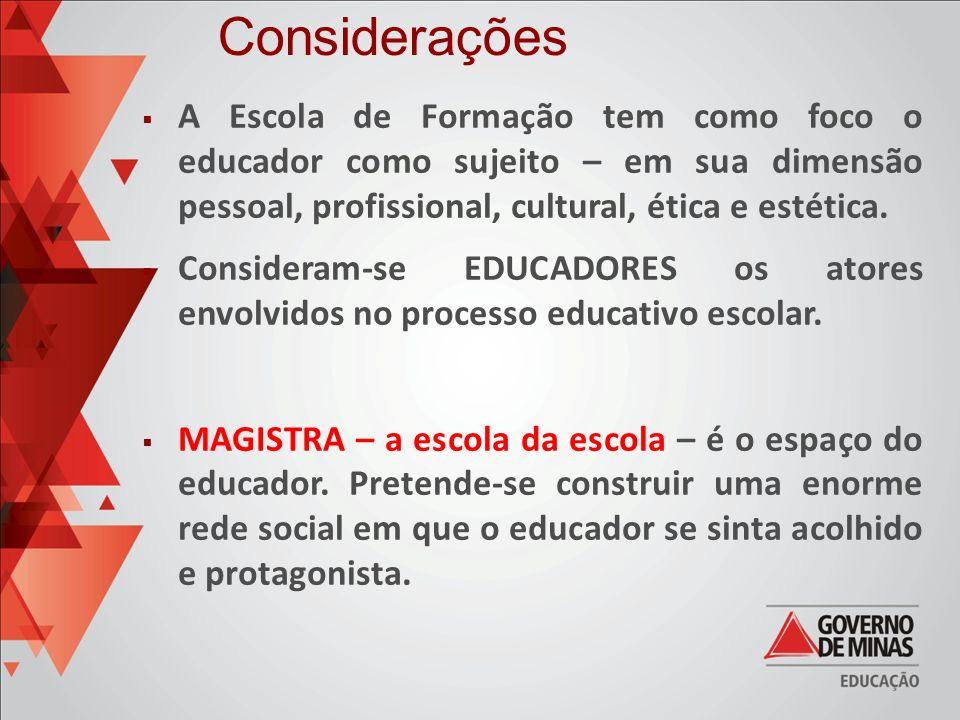 Considerações A Escola de Formação tem como foco o educador como sujeito – em sua dimensão pessoal, profissional, cultural, ética e estética.