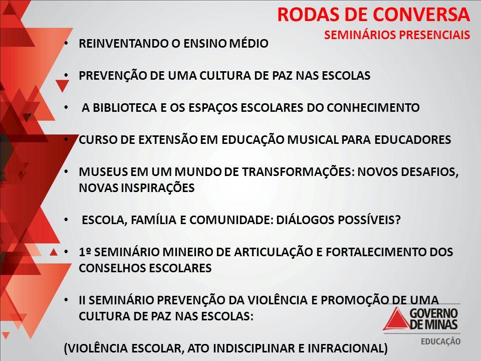 RODAS DE CONVERSA SEMINÁRIOS PRESENCIAIS REINVENTANDO O ENSINO MÉDIO