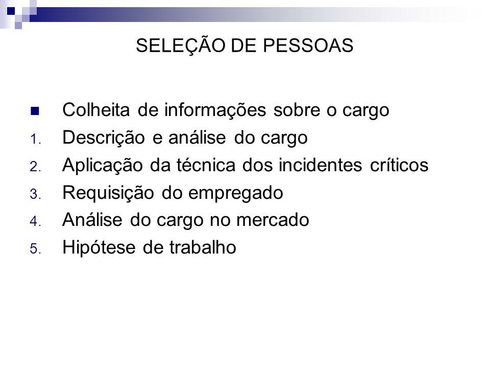 SELEÇÃO DE PESSOAS Colheita de informações sobre o cargo. Descrição e análise do cargo. Aplicação da técnica dos incidentes críticos.
