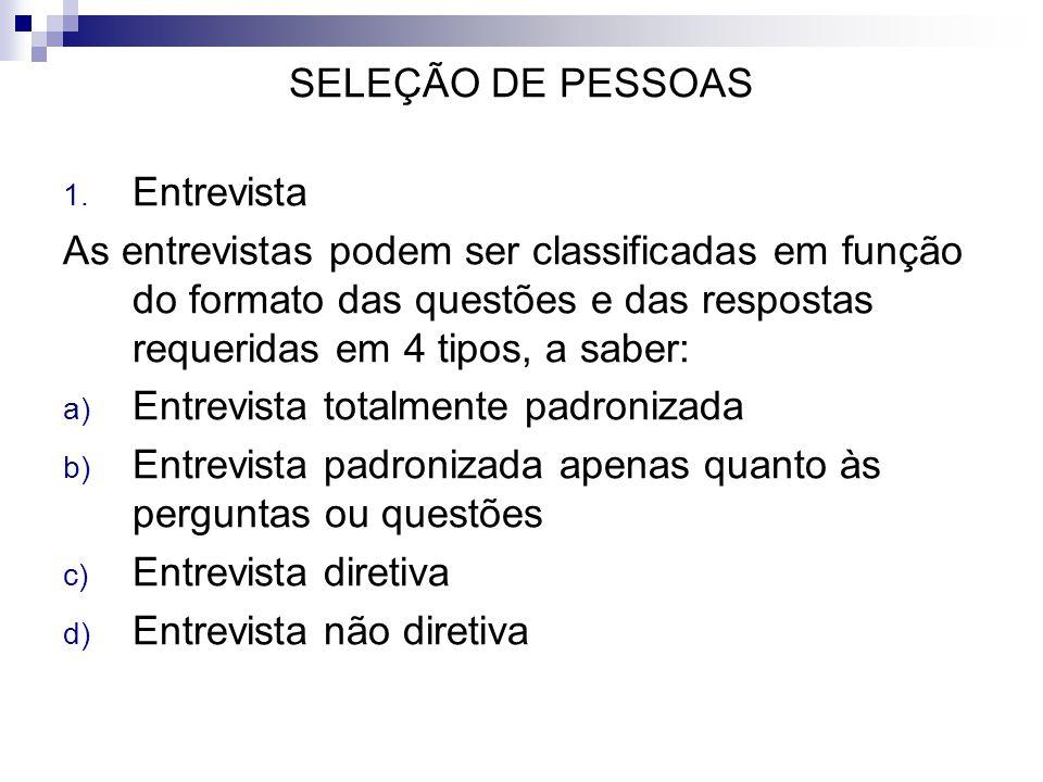 SELEÇÃO DE PESSOAS Entrevista.
