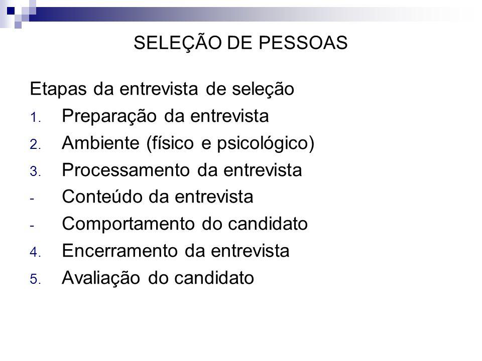 SELEÇÃO DE PESSOAS Etapas da entrevista de seleção. Preparação da entrevista. Ambiente (físico e psicológico)