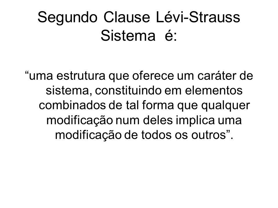 Segundo Clause Lévi-Strauss Sistema é: