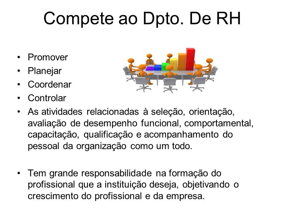 Compete ao Dpto. De RH Promover Planejar Coordenar Controlar