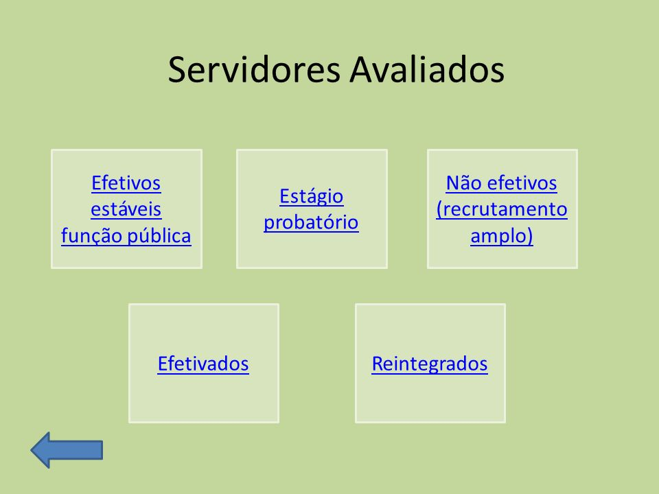 Servidores Avaliados Efetivos estáveis função pública