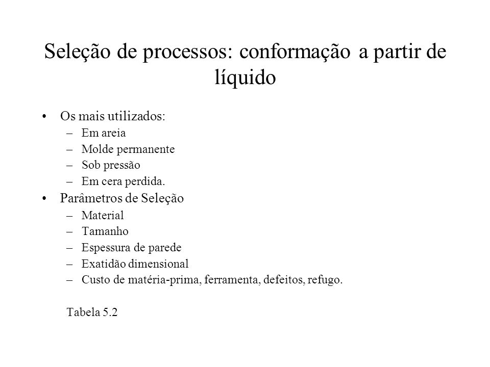 Seleção de processos: conformação a partir de líquido