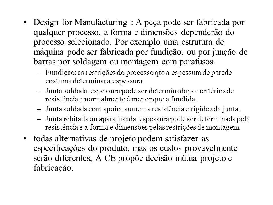 Design for Manufacturing : A peça pode ser fabricada por qualquer processo, a forma e dimensões dependerão do processo selecionado. Por exemplo uma estrutura de máquina pode ser fabricada por fundição, ou por junção de barras por soldagem ou montagem com parafusos.