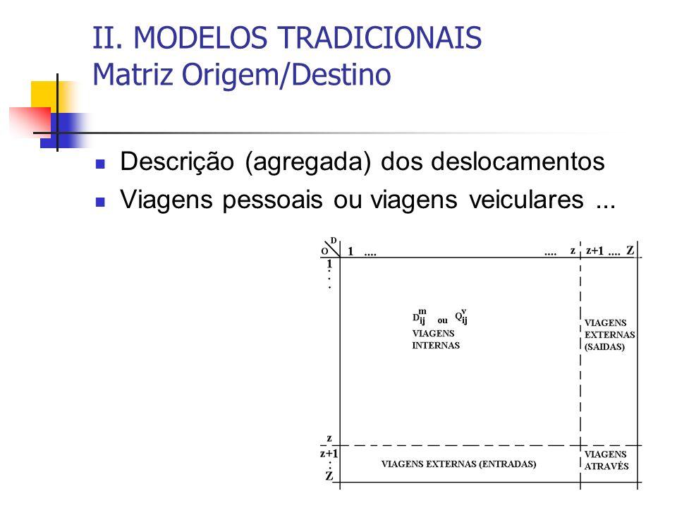 II. MODELOS TRADICIONAIS Matriz Origem/Destino