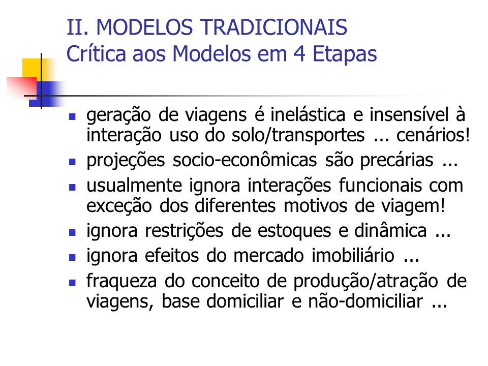 II. MODELOS TRADICIONAIS Crítica aos Modelos em 4 Etapas