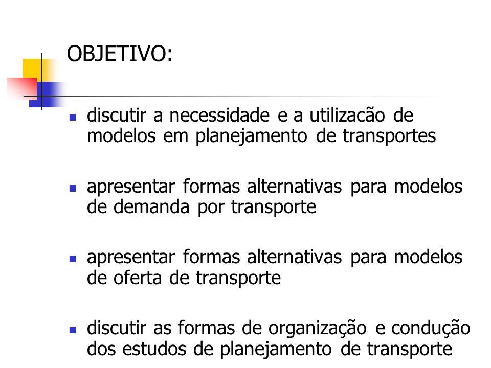 OBJETIVO: discutir a necessidade e a utilizacão de modelos em planejamento de transportes.