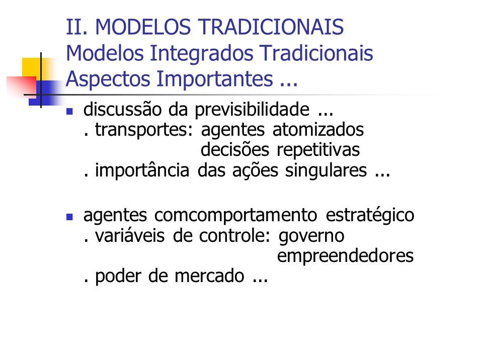 II. MODELOS TRADICIONAIS Modelos Integrados Tradicionais Aspectos Importantes ...