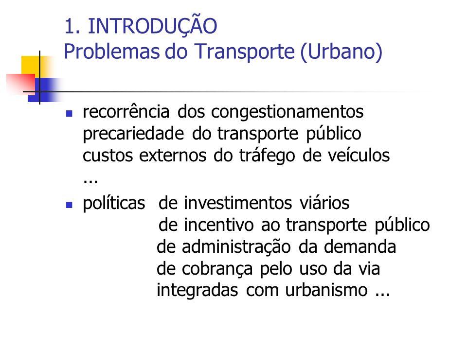 1. INTRODUÇÃO Problemas do Transporte (Urbano)