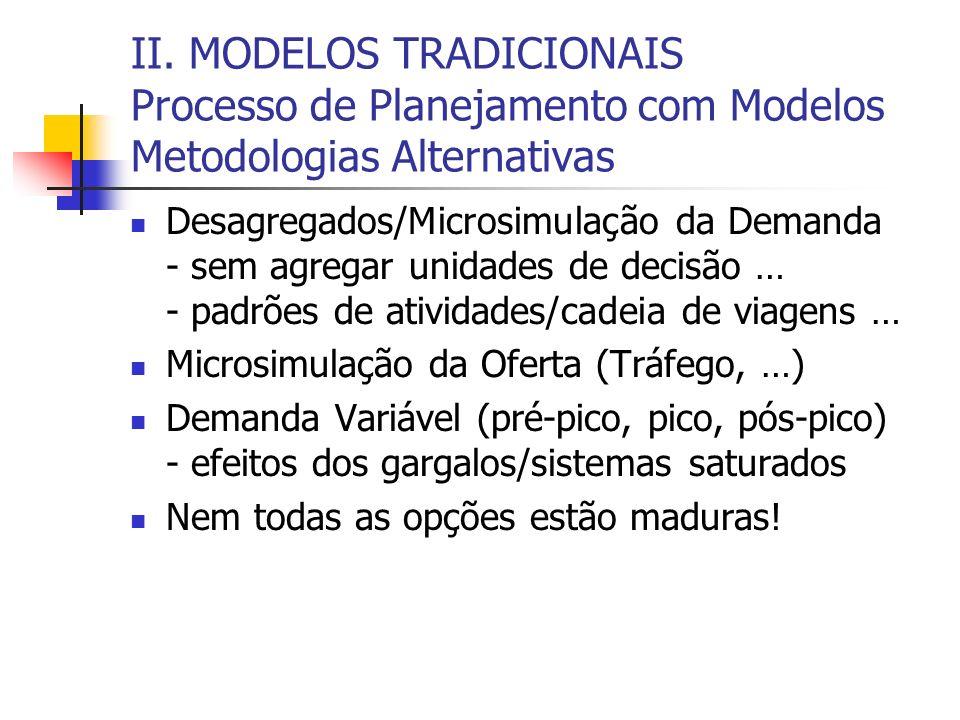 II. MODELOS TRADICIONAIS Processo de Planejamento com Modelos Metodologias Alternativas