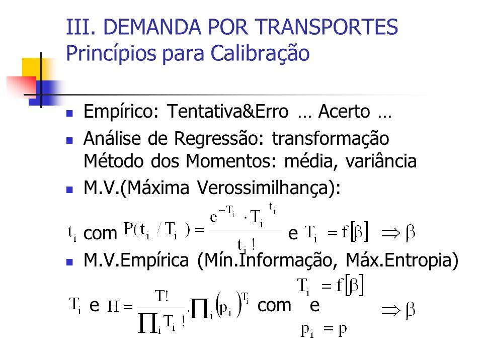 III. DEMANDA POR TRANSPORTES Princípios para Calibração