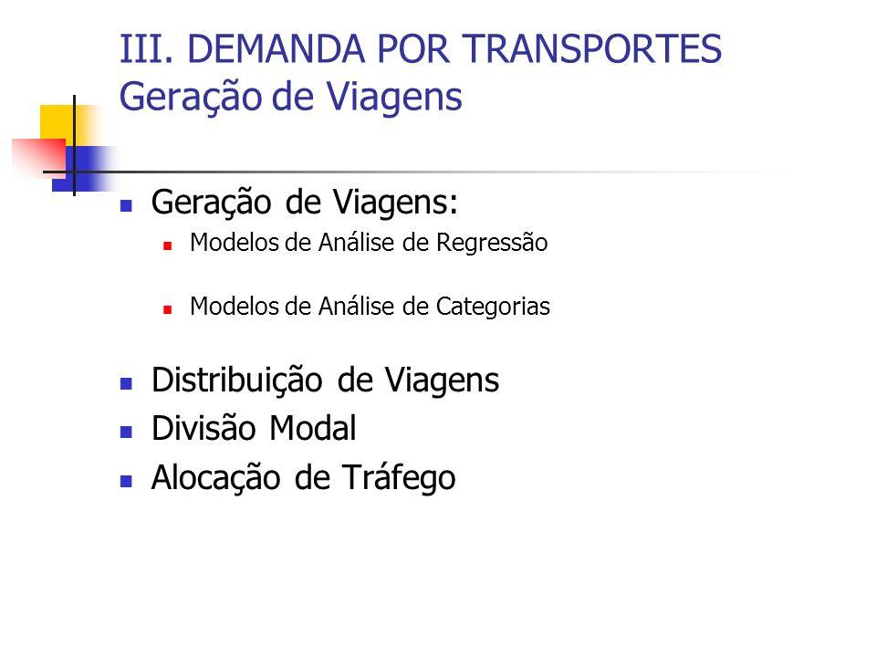 III. DEMANDA POR TRANSPORTES Geração de Viagens