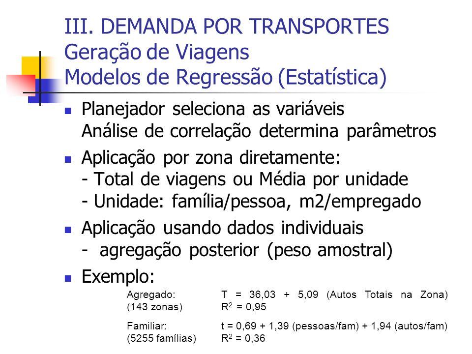 III. DEMANDA POR TRANSPORTES Geração de Viagens Modelos de Regressão (Estatística)