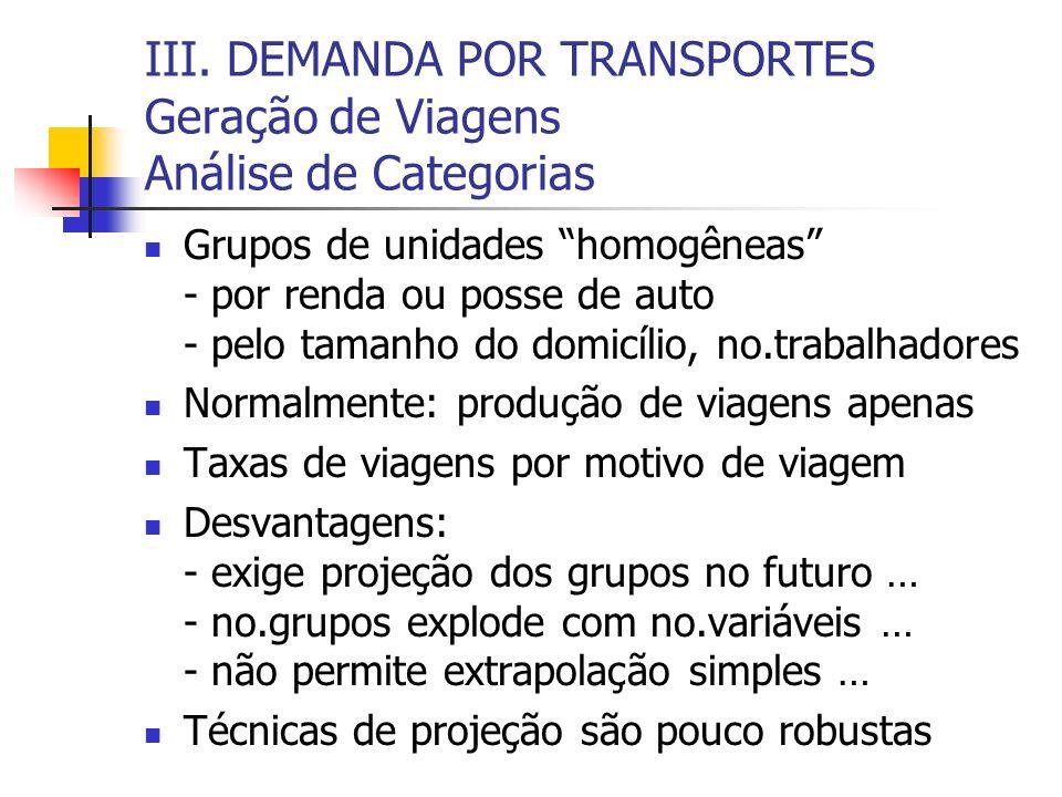 III. DEMANDA POR TRANSPORTES Geração de Viagens Análise de Categorias