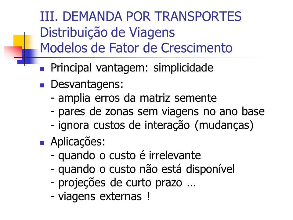 III. DEMANDA POR TRANSPORTES Distribuição de Viagens Modelos de Fator de Crescimento