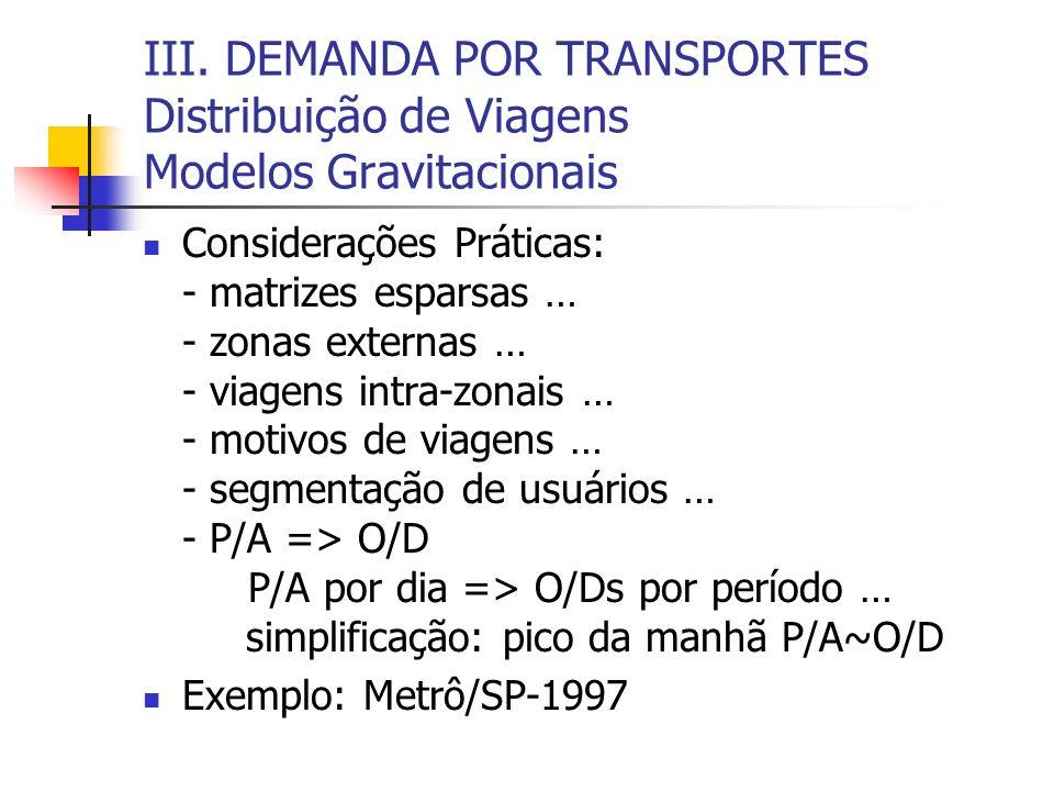III. DEMANDA POR TRANSPORTES Distribuição de Viagens Modelos Gravitacionais
