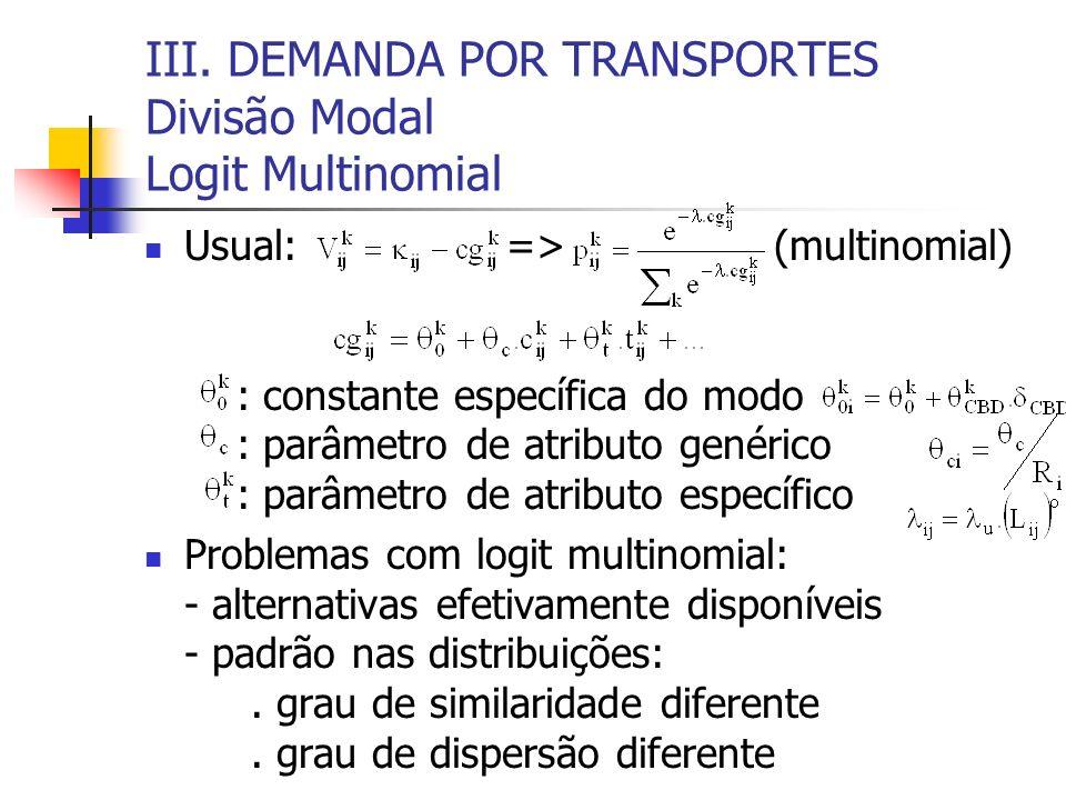 III. DEMANDA POR TRANSPORTES Divisão Modal Logit Multinomial