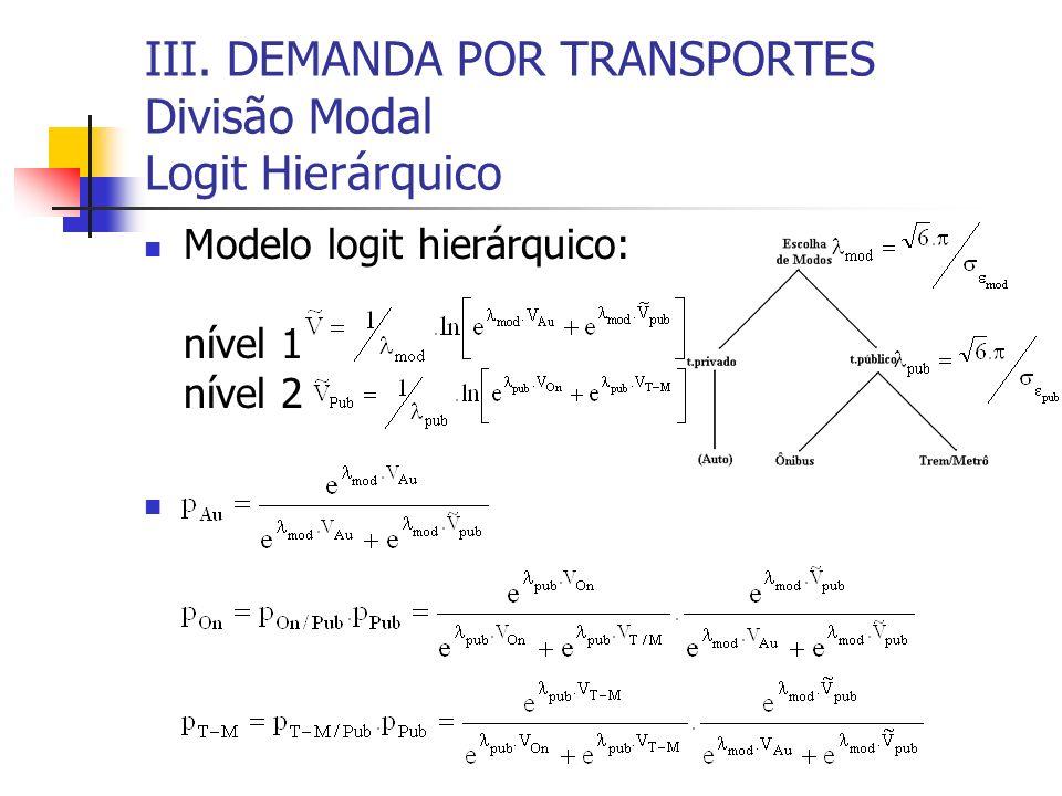 III. DEMANDA POR TRANSPORTES Divisão Modal Logit Hierárquico