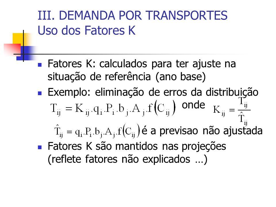 III. DEMANDA POR TRANSPORTES Uso dos Fatores K