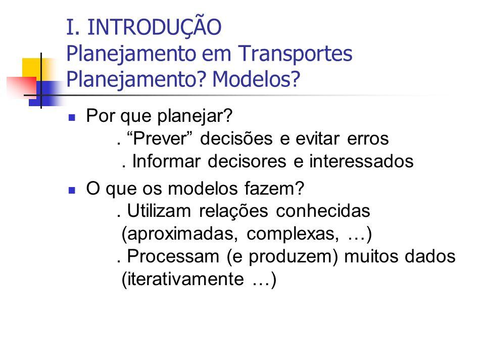 I. INTRODUÇÃO Planejamento em Transportes Planejamento Modelos