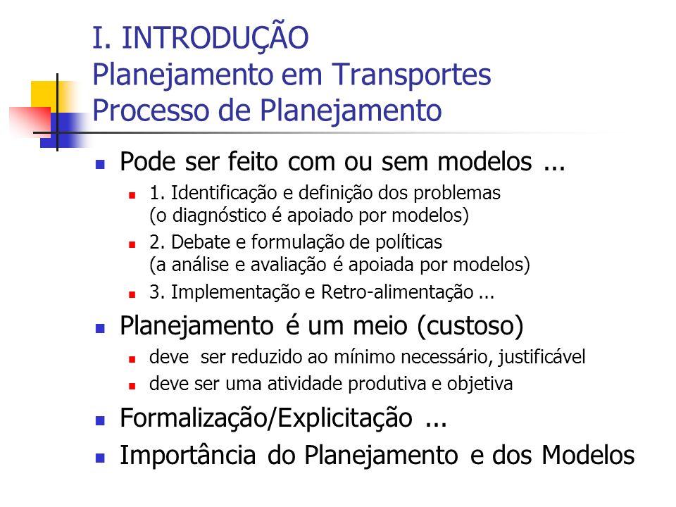 I. INTRODUÇÃO Planejamento em Transportes Processo de Planejamento