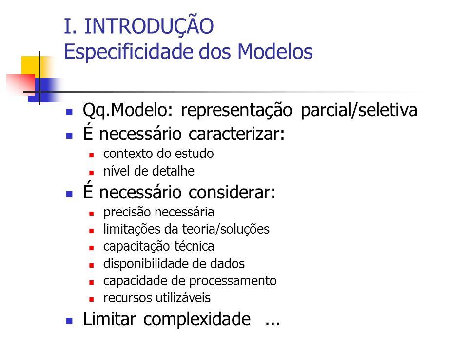 I. INTRODUÇÃO Especificidade dos Modelos
