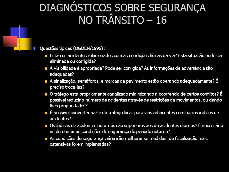 DIAGNÓSTICOS SOBRE SEGURANÇA NO TRÂNSITO – 16