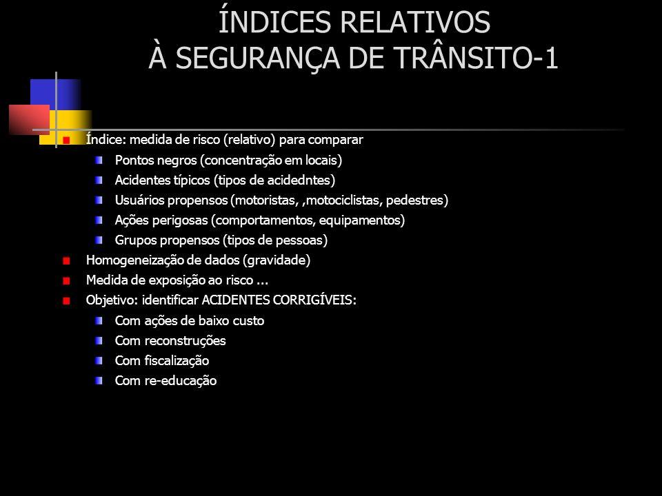 ÍNDICES RELATIVOS À SEGURANÇA DE TRÂNSITO-1