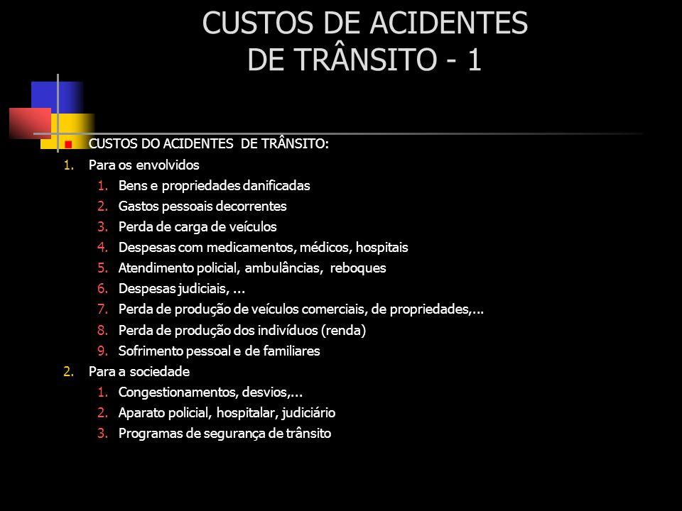 CUSTOS DE ACIDENTES DE TRÂNSITO - 1