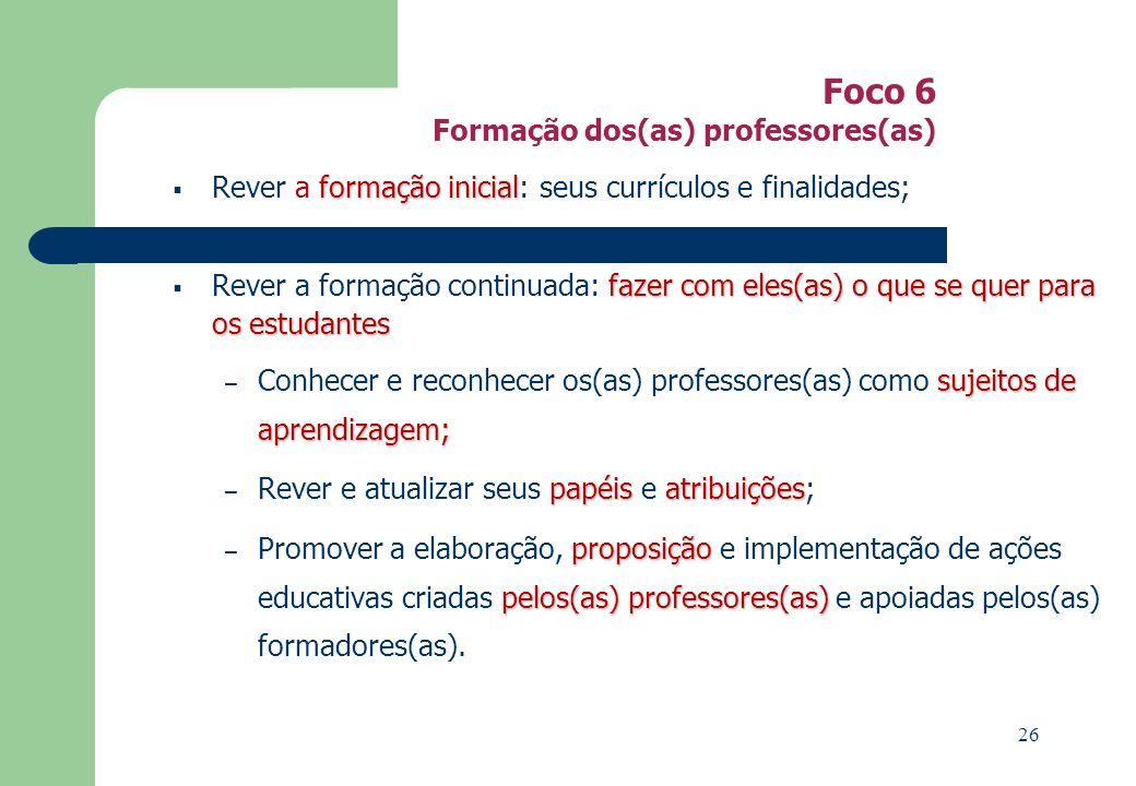 Foco 6 Formação dos(as) professores(as)
