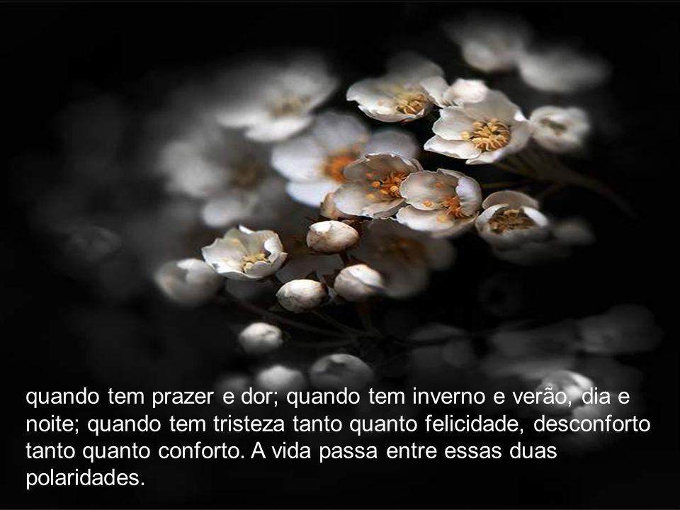 quando tem prazer e dor; quando tem inverno e verão, dia e noite; quando tem tristeza tanto quanto felicidade, desconforto tanto quanto conforto.