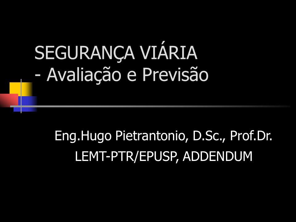 SEGURANÇA VIÁRIA - Avaliação e Previsão