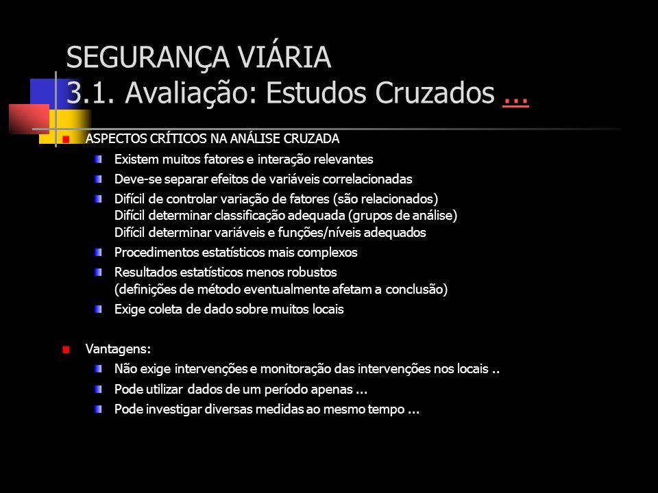 SEGURANÇA VIÁRIA 3.1. Avaliação: Estudos Cruzados ...