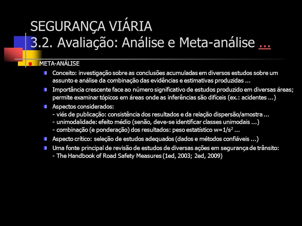 SEGURANÇA VIÁRIA 3.2. Avaliação: Análise e Meta-análise ...