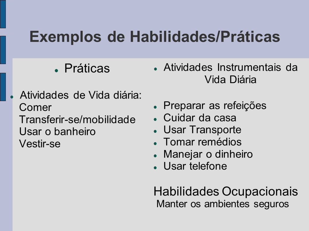 Exemplos de Habilidades/Práticas