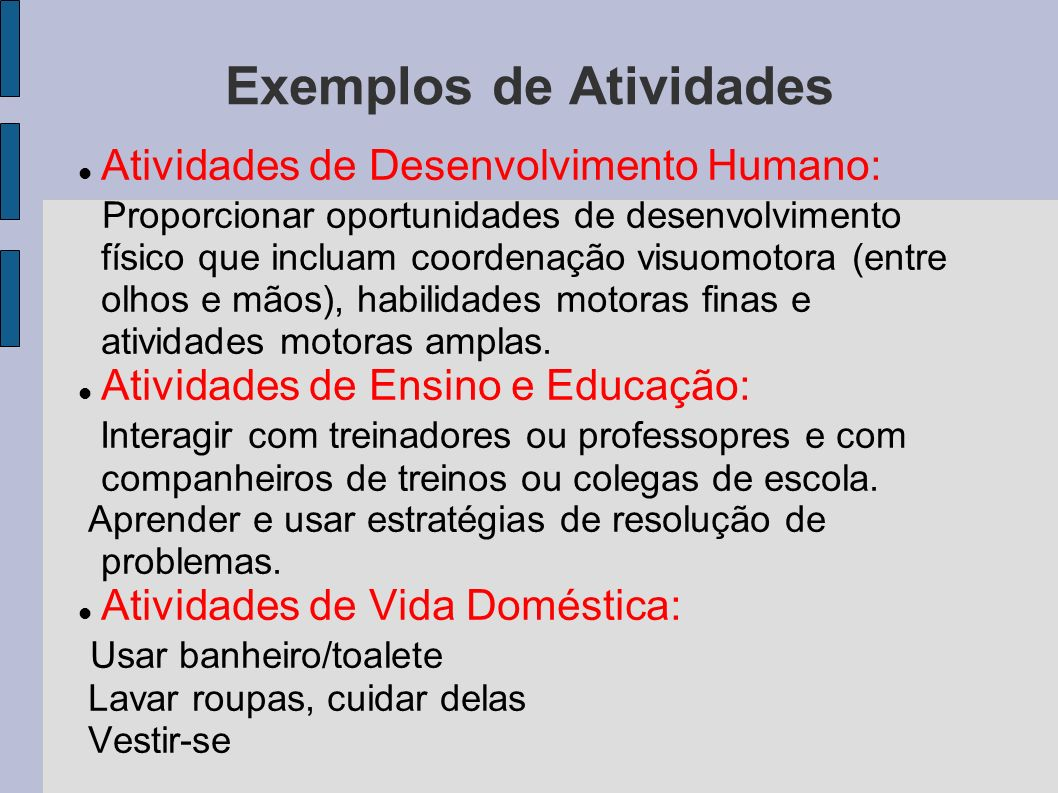 Exemplos de Atividades