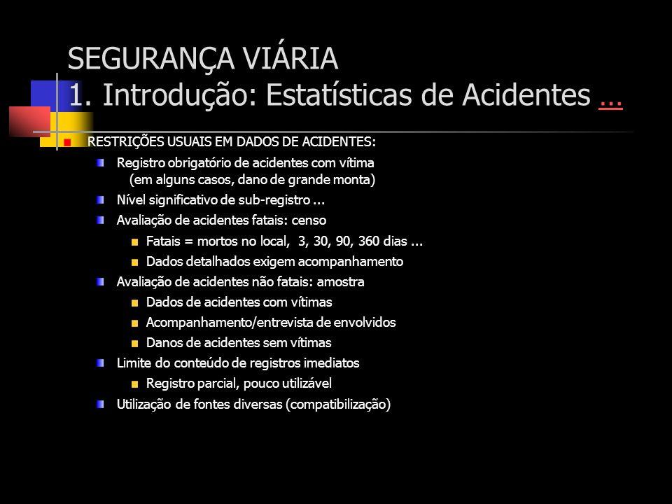 SEGURANÇA VIÁRIA 1. Introdução: Estatísticas de Acidentes …