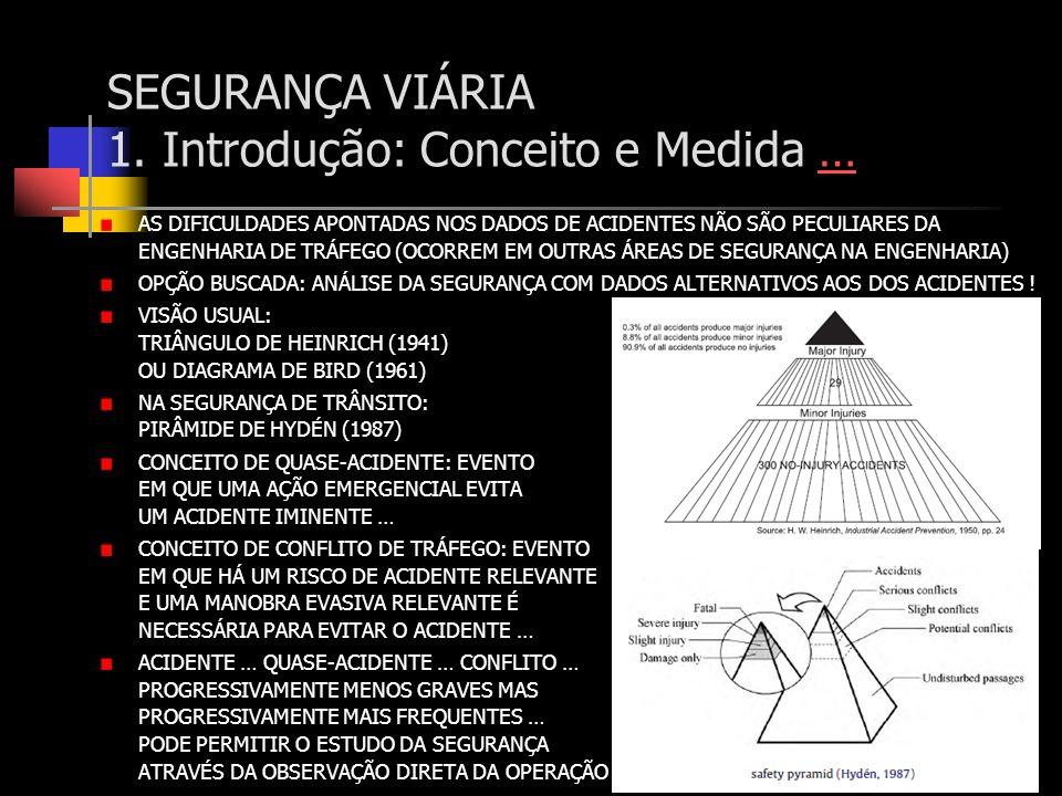 SEGURANÇA VIÁRIA 1. Introdução: Conceito e Medida …