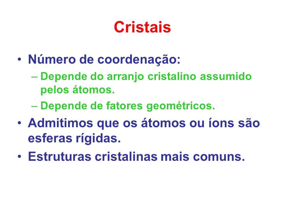 Cristais Número de coordenação: