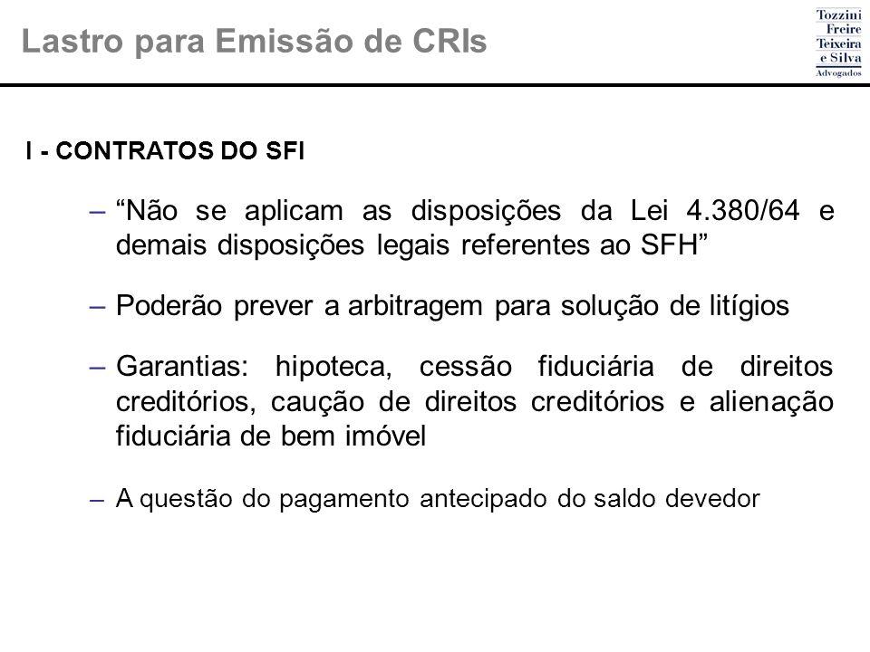 Lastro para Emissão de CRIs