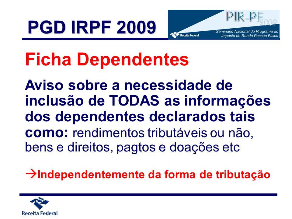 PGD IRPF 2009 Ficha Dependentes