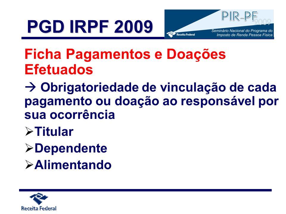 PGD IRPF 2009 Ficha Pagamentos e Doações Efetuados