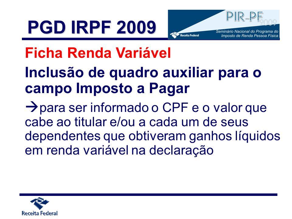 PGD IRPF 2009 Ficha Renda Variável