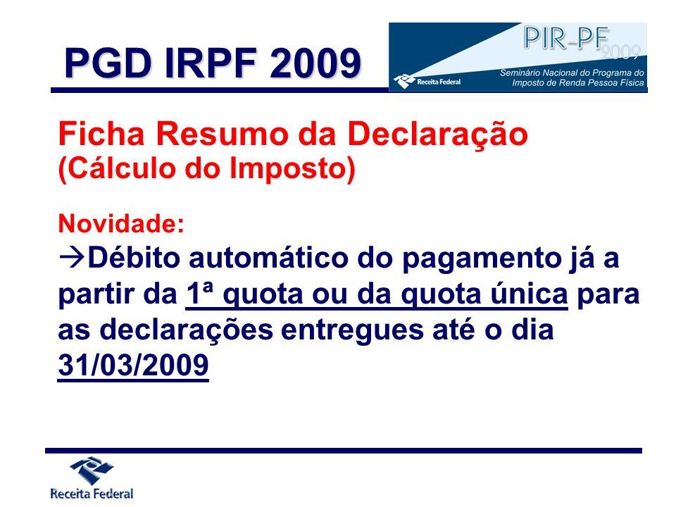 PGD IRPF 2009 Ficha Resumo da Declaração (Cálculo do Imposto)