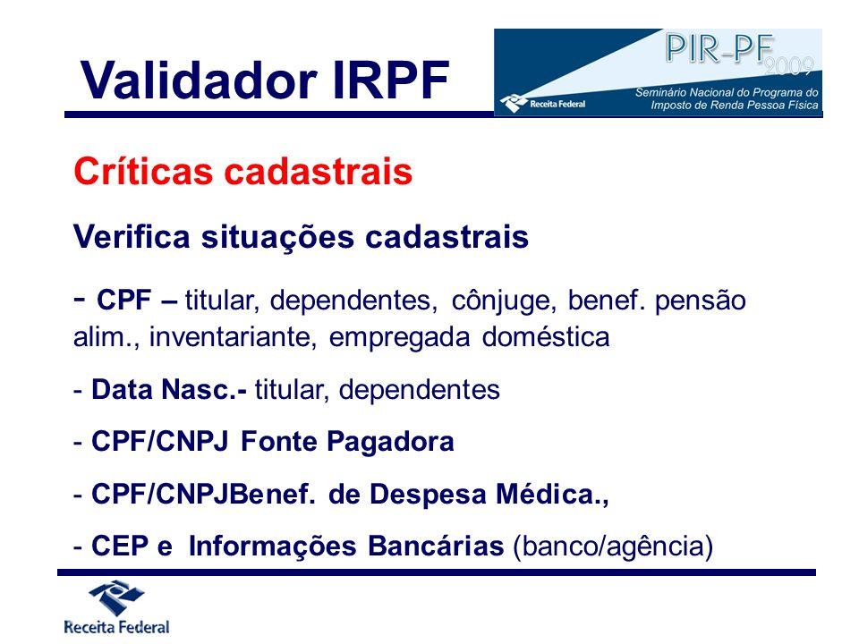Validador IRPF Críticas cadastrais
