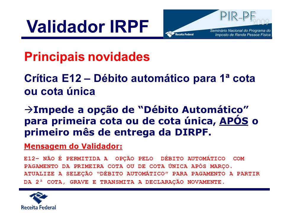 Validador IRPF Principais novidades