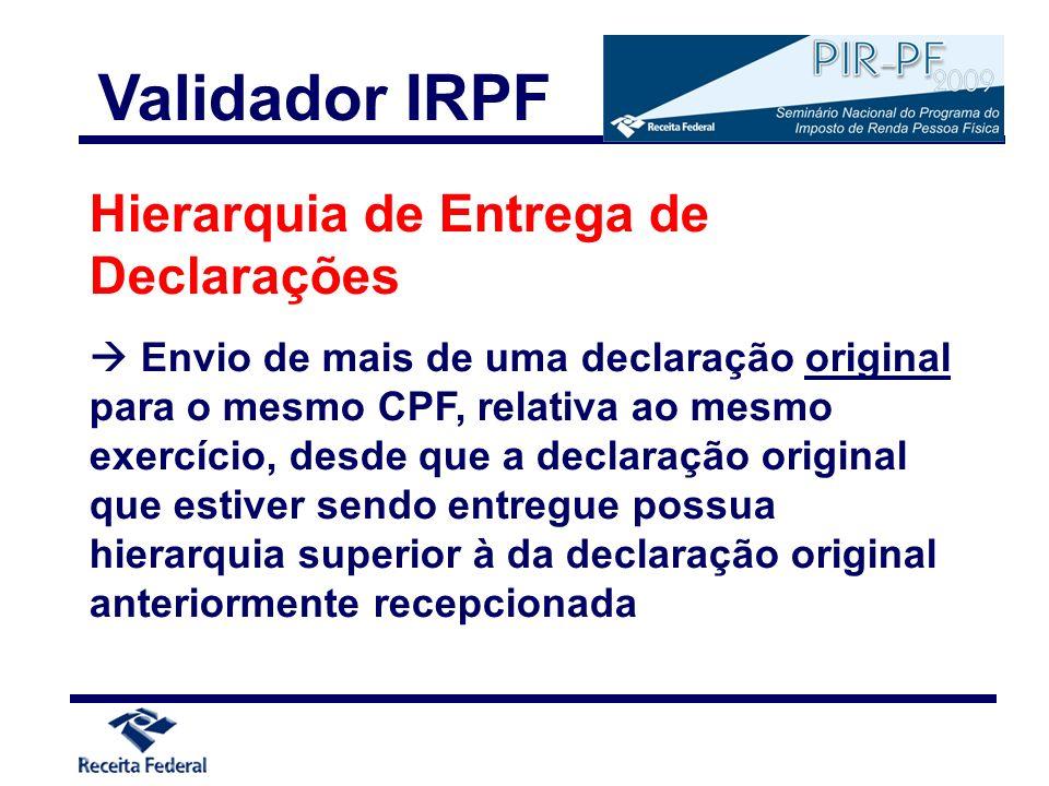 Validador IRPF Hierarquia de Entrega de Declarações