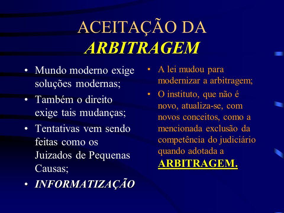 ACEITAÇÃO DA ARBITRAGEM